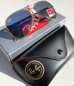 Ray-Ban Aviator Sunglasses Gold Frame RB3025 LW3277 58mm Light Blue Gradient