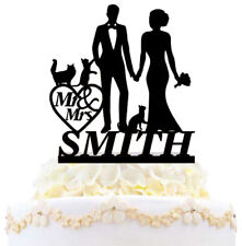 Personalized Family Wedding Cake Topper Bride And Groom With 3 Cats Sweet Topper