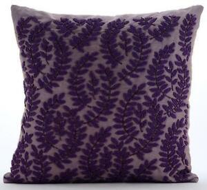 Purple 26x26 inch Handmade Euro Sham Cover Silk, Leaf - Two Tone Purple Leaf