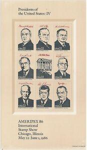 US 2219 Ameripex'86 Presidents 22c sheet (9 stamps) MNH 1986