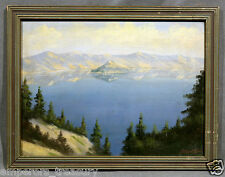 """Crater Lake, 1930"" National Park Oregon Oil Painting signed J. Albert Sylvia"