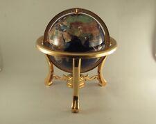 "Gemstone World Globe On Brass Stand 9"" Globe 13"" Tall"