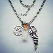 Angel Wing Pentagram Salt Witch Bottle Necklace Supernatural Protection Pendants
