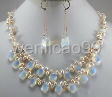 Fashion Light Blue Fire Opal and FreshWater Pearl Necklace earringsSet