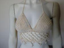 Handmade Crochet Women Top Bra Beach Bikini Crop Ecru Size S/M