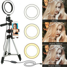"5.7"" LED Ring Light Kit w/ Stand Dimmable for Makeup Phone Camera YouTube Live E"