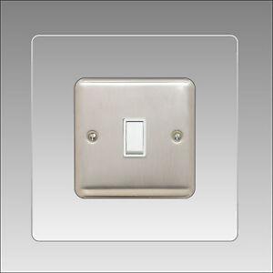 Light Switch Surround Single 3mm clear Acrylic Finger Plate Plug Socket