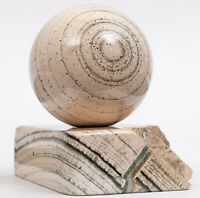 SCARN Green HedenbergIte and white Wolastonite Polished sphere 48 mm #8287P