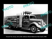 OLD LARGE HISTORIC PHOTO OF NEWARK NEW JERSEY, THE BUDWEISER BEER TRUCK c1940