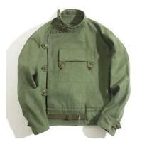 Vintage Swedish Motocycle Jacket Men's Workwear Army Green Canvas Loose Coat sz