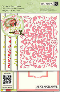 CARD KIT Beyond Postmarks Demask Floral Create 8 Cards & Envelopes K&Company NEW