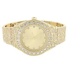 Techno Pave Watch Gold Tone Full Iced Out Simulated Diamond Analog Hip Hop Bling