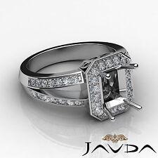 Diamond Engagement Ring Emerald Semi Mount Halo Setting 18k White Gold 0.6Ct