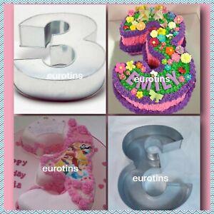 "Large Number Three 3 Cake Tin pan Mould Birthday Anniversary Measure 14""x10""x3"""