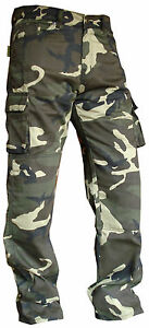 MENS GREEN COTTON CAMO REINFORCED PROTECTIV LINING MOTORBIKE MOTORCYCLE TROUSERS