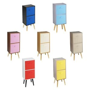 Wooden 2 Tier Storage Bookcase Scandinavian Style Legs Bedroom Colourful Inserts