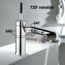 hello Rotated Spout Bathroom Chrome Brass Deck Mount Tap Basin Mixer Sink Faucet