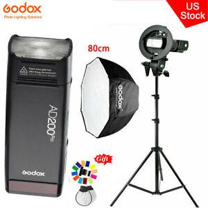 US Godox AD200Pro 2.4G TTL HSS Flash Speedlite+80cm Umbrella Softbox Stand Kit