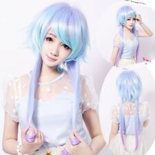 Womens Layer Cut Costume Party Wig Long Straight Lolita Purple Blue Ombre Hair