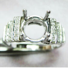 Semi Mount Natural Diamond Engagement Ring 6.0mm Round Cut Solid 14kt White Gold