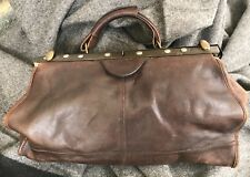 Handbag Italy Brown Distressed Leather Doctor Style Unlined