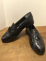 Stacy Adams Men's 10M Genuine Snake Skin & Leather Tassel Loafer Black Shoes