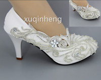 HOT White Bud silk Lace Crystal Pumps Wedding wedding shoes size 2-8