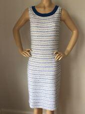 NWT St John Knit dress size 4 Havana Blue & Bright white tweed wool rayon