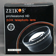 ZEIKOS HD 2.0X TELEPHOTO 58mm Thread Lens Attachment SLR DSLR MC AF JAPAN