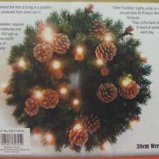 Guirlande de Noël-avec lumières blanches chaudes à piles-Pin & Cônes - 38 cm