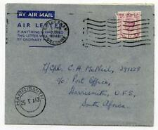 Air Letter Sheet 7 Dec 1942 First Day of Issue. Rotherham - Harrismith S Africa.