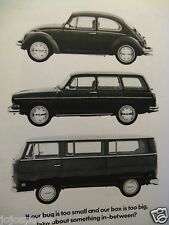 1971 Volkswagen -Bug Too Small Bus Too Big? Original Print Ad 8.5 x 11""