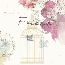 "Special Friend Birthday Card ""Bird Cage & Flowers"" Size 6.25"" x 6.25""- NEHI 0012"