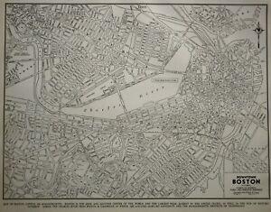 Vintage World War WWII 1941 World Atlas City Map Boston, MA Cambridge Mass L@@K!