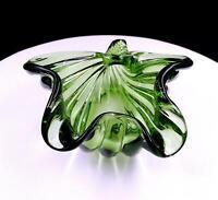 """ALFREDO BARBINI MURANO SOMMERSO GREEN ITALIAN ART GLASS 7"""" CONCH SHELL 1950-60s"""