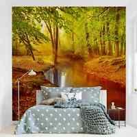 Tapete selbstklebend Herbstwald Fototapete Quadrat Wandbild Vliestapete