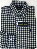 NEW $98 Polo Ralph Lauren Long Sleeve Plaid Flannel Shirt Mens Navy Blue Classic