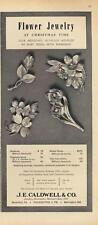 1962 J.E. Caldwell Co.PRINT AD features14K Gold & Diamond Floral Brooch detailed
