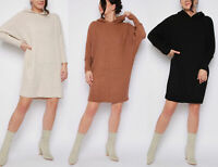 New Womens Jumper Dress Ladies Hooded Batwing Knitted Oversized Longline Size