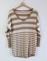 Joie Size S Tan Beige Stripe V-Neck Soft Fine Knit Cashmere Wool Mix Sweater Top