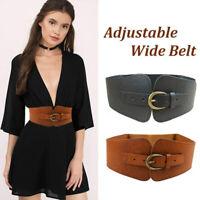 New Fashion Elastic Wide Belt Strap Vintage Women Faux Leather Buckle Elastic.