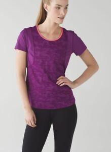Lululemon Run For Days T Shirt 8 Purple Royal Plum Camo Short Sleeve