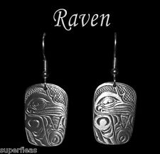 NEW West Coast Native Totem RAVEN EARRINGS  Symbol of Knowledge and Creativity