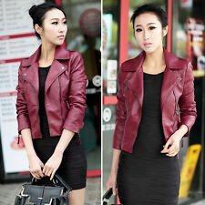 Vintage Women Slim Fit Punk Rock Biker Motorcycle PU Leather Zipper Jacket Coats