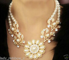 Banquet Necklace Lovely Flower Pendant Choker Necklace Bright Faux Pearl Bib top