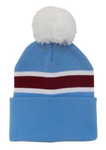 Sky Blue, White, and Claret Traditional Villa Style Bobble Hat - Made in the UK