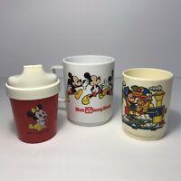 Vintage Lot of 3 Walt Disney Plastic Juice Cups DEKA Superseal Playskool Mickey