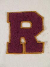 """Vintage Letterman Varsity Letter """"R"""" Gold Burgundy Stitch On Letter for Jacket"""