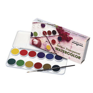 Grumbacher Non-Toxic Watercolor Paint Set with Brush and 0.5ml Tube of White