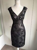 Laura Ashley Size 10 Black Antique Gold Metallic Floral Jacquard Sleeveless...